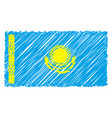 hand drawn national flag of kazakhstan isolated on vector image vector image