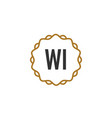 initial letter wi elegance creative logo vector image vector image
