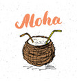 lettering word aloha with hand drawn sketch vector image vector image