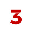 logo number 3 red vector image