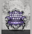 luxury baroque armchair with elegant rose floral vector image