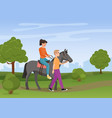 man leading horse with woman riding on it vector image