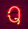 neon font letter q art design signboard vector image vector image