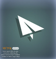 Paper airplane icon On the blue-green abstract vector image