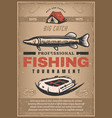 poster for professional fishing tournament vector image vector image