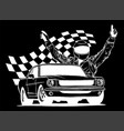 racing car with checker flag vector image