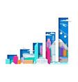 raising bar graph with city elements urban vector image vector image