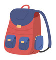 red and blue school bag on a white vector image