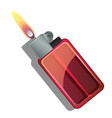 red gas lighter with flame isolated vector image