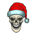 santa claus skull on white background christmas vector image vector image