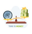 scales balance time and money concept symbol vector image