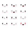 set of cute lovely kawaii emoticon doodle cartoon vector image