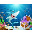 shark under the sea vector image