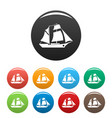 ship excursion icons set color vector image vector image