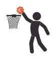 Silhouette human playing basketball