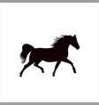 silhouette of a running horse vector image vector image