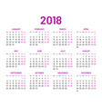 simple wall calendar 2018 year flat isolated vector image vector image