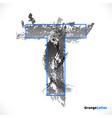 stylized grunge logo letter t brush strokes vector image