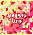 summer or spring background with tropical flowers vector image vector image