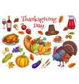 Thanksgiving traditional celebration symbols vector image vector image