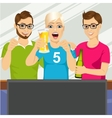 three young friends watching sports game vector image