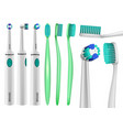 toothbrush dental mockup set realistic style vector image