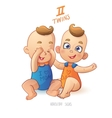 Twins horoscope sign Two cartoon baby boys vector image