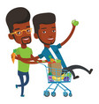 two friends riding by shopping trolley vector image vector image