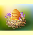 vintage easter egg in a wicker nest vector image vector image