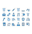 07 blue dental care icons set vector image vector image