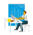 architect work with laptop blueprint at back vector image vector image