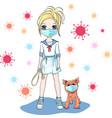 bagirl walk a dog on quarantine vector image