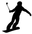 black silhouette of a snowboarder vector image vector image