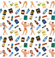 bodybuilders gym athlete seamless pattern vector image