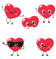 cartoon red heart character with funny face vector image