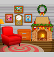 christmas living room with a tree and fireplace vector image vector image