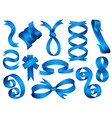 collection blue ribbons isolated shapes vector image vector image