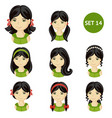 cute little girls with dark hair and various hair vector image vector image