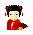 cute red kimono girl character graphic vector image vector image