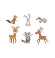 cute wild forest animals set gopher hare vector image