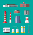 factory icon set industrial factory power plant vector image