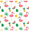 flamingotropical fruits seamless pattern white vector image vector image