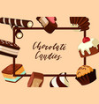 frame with cartoon chocolate candies vector image
