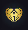 gold love house care logo vector image vector image
