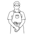 half length male waiter standing vector image vector image