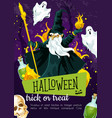 halloween holiday greeting poster with evil wizard vector image vector image
