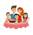 happy family at table celebration tableful vector image vector image