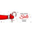 Holiday sale horizontal banner santas claus hand