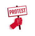 icon hand holding a poster protest vector image vector image