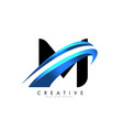 m letter logo with blue gradient swash design